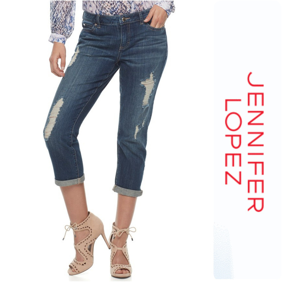 5b9ff656ca8 Jennifer Lopez Ripped Mid Rise Capri Jeans Size 16